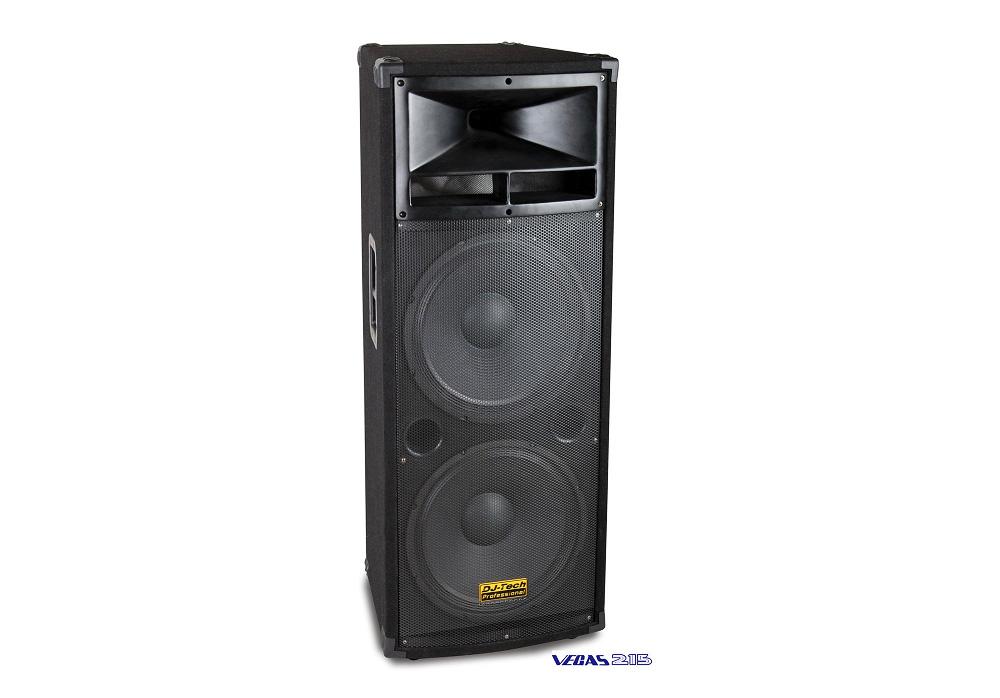 "DJ Tech Vegas 215 Two 15"" High-Power 3-Way Speaker System 1500w with Metal handles"