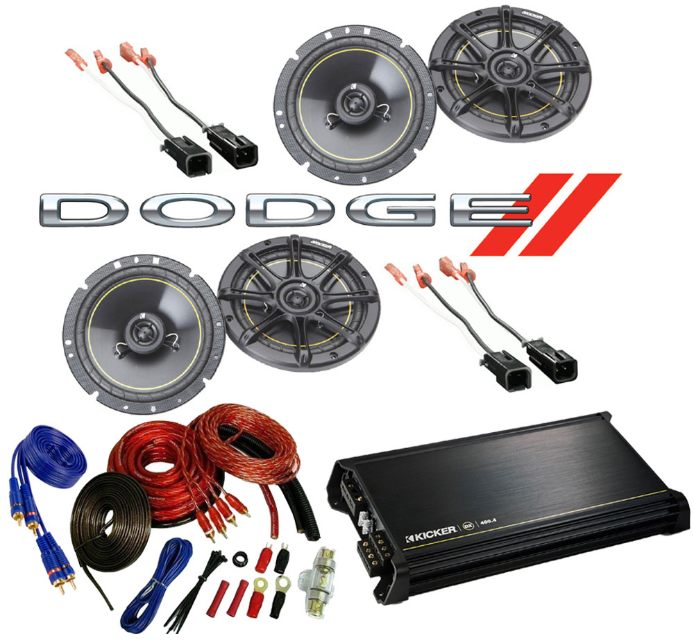 """Dodge Dakota 1997-1999 Kicker Factory 6 1/2"""" Coaxial Speaker Replacement (2) DS65 Package with DX400.4 Amp"""