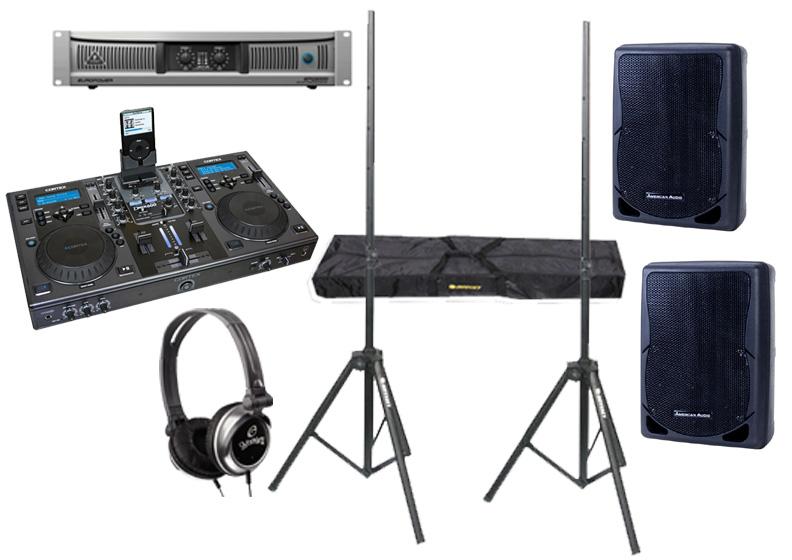 "DJ Package Cortex DMIX-600 Pro iPod Digital Media Controller with Monitor Headphones, Behringer EPQ2000 Power 2000 Watt Amp and (2) American Audio XSP-12 Passive 12"" 700W Speaker with Adjustable Stands"