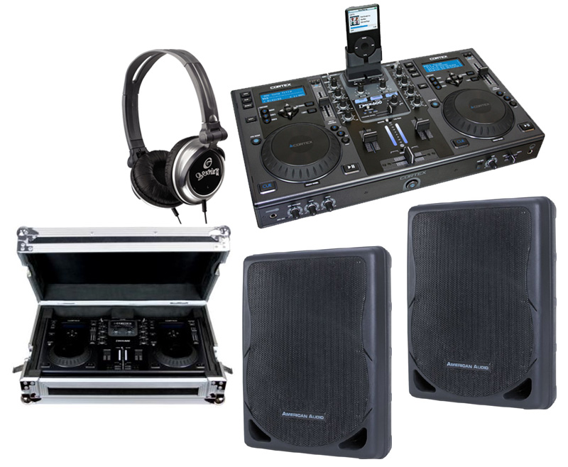 """DJ Package Cortex DMIX-600 Pro iPod Digital Media Controller with Sturdy Case, Monitor Headphones and American Audio XSP-12A 12"""" PA 300W 2-Way Speaker Pair System"""