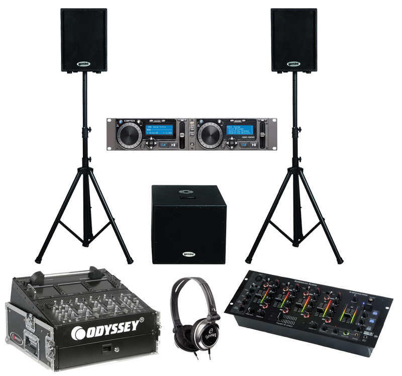 """DJ Package Cortex HDC-1000 Pro Rack Mount Mass Storage Media Player & Controller with Monitor Headphones, Dual 10"""" PA Powered Speakers & 15"""" Sub, American Audio Q-SPAND PRO 4CH Mixer & Odyssey FR1002 Flight Case"""