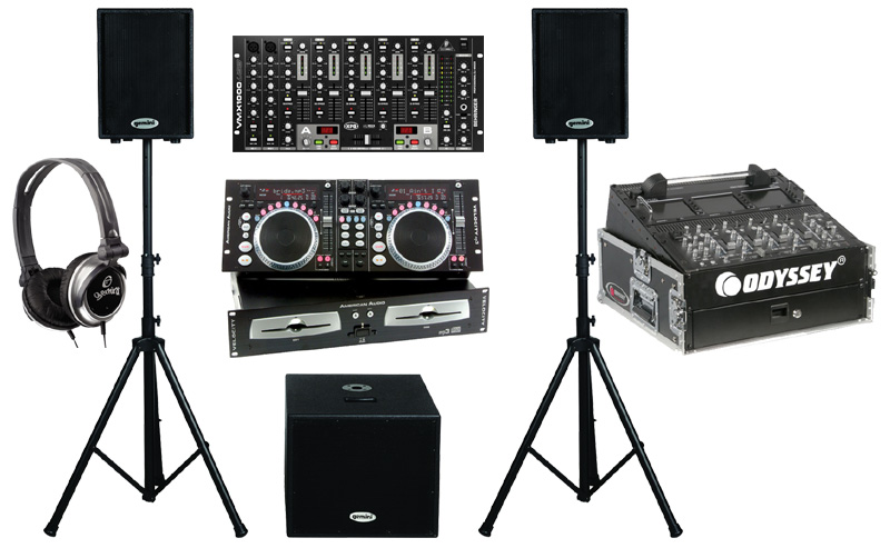 "DJ Package American Audio VELOCITY MP3 Pro Scratch Dual MP3 CD Player with Monitor Headphones, Behringer VMX1000USB 7CH Mixer, Dual 10"" Powered PA Speakers & 15"" Subwoofer and Odyssey FR1002 Flight Case"