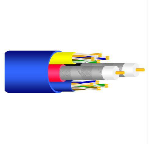 Sound Quest SRRCC5J Home Audio Ul Listed (2) RG6 Quad + (2) Cat5E Data Cable 212 Foot Spool - Blue