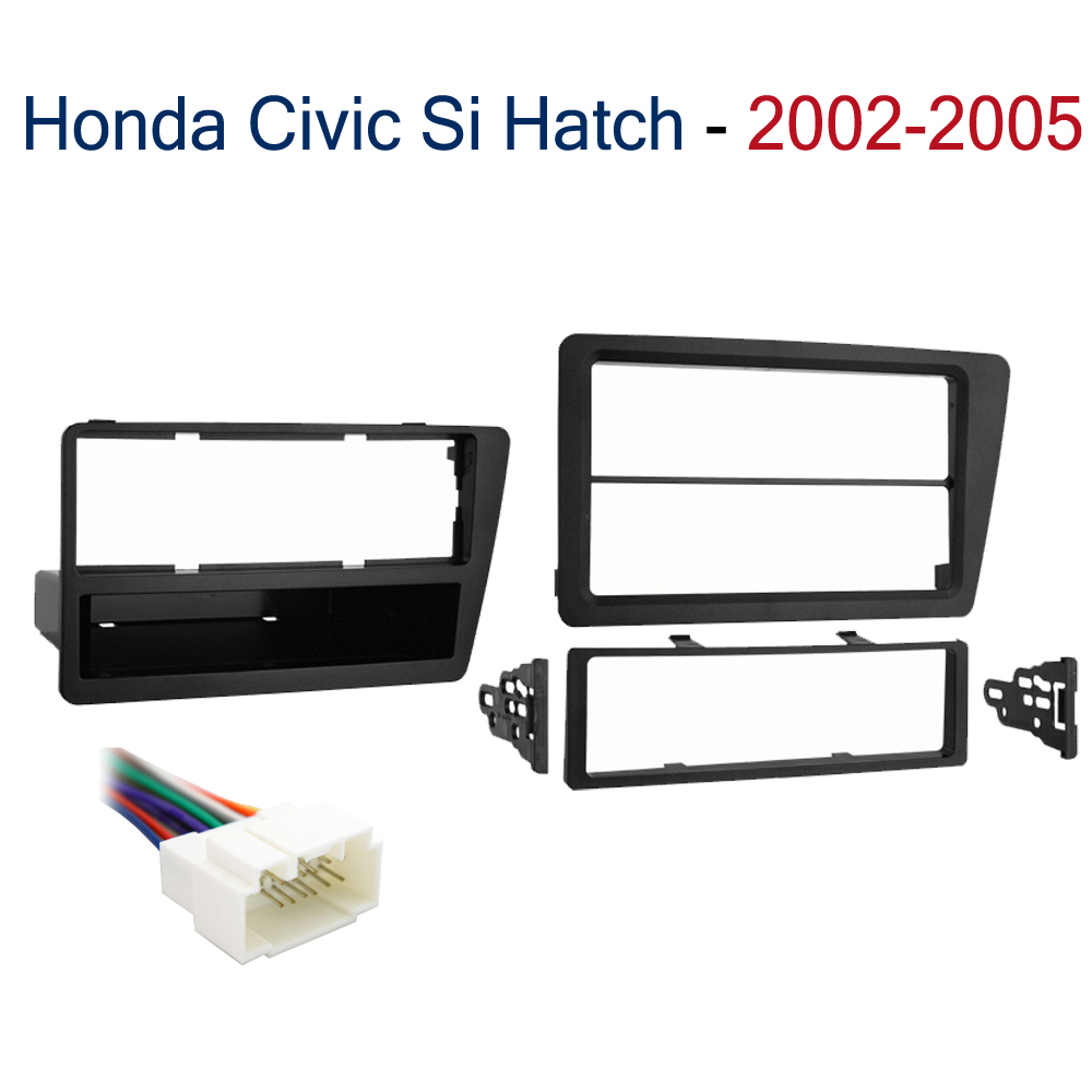 Honda Civic 2002 2003 2004 2005  Single or Double DIN Stereo Harness Radio Install Dash Kit