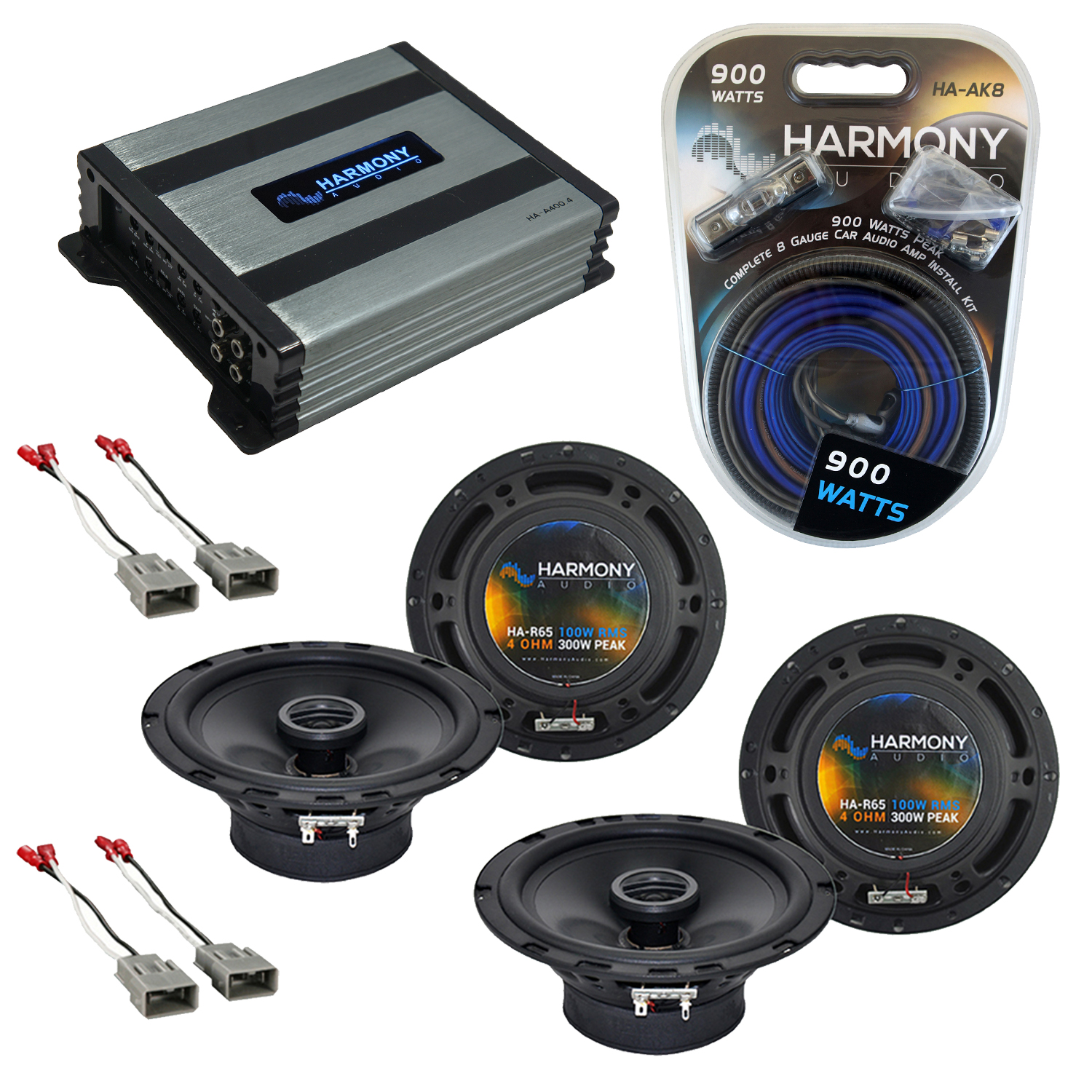 Compatible with Acura MDX 2001-2006 Factory Speaker Replacement Harmony (2) R65 & Harmony HA-A400.4 Amp