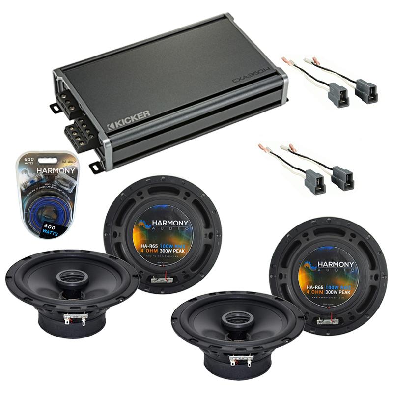 Compatible with Hyundai Santa Fe 2001-2006 Speaker Replacement Harmony (2) R65 & CXA360.4 Amp