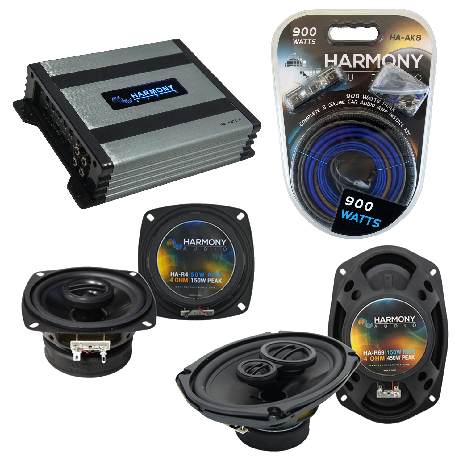 Compatible with Infiniti M30 1990-1992 OEM Speaker Replacement Harmony R4 R69 & Harmony HA-A400.4 Amp