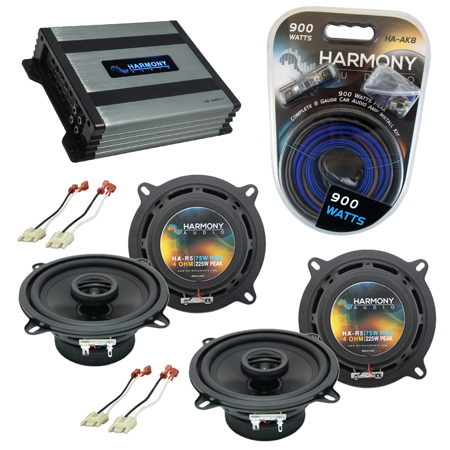 Compatible with Jeep Cherokee 1988-1996 OEM Speaker Replacement Harmony (2) R5 & Harmony HA-A400.4 Amp