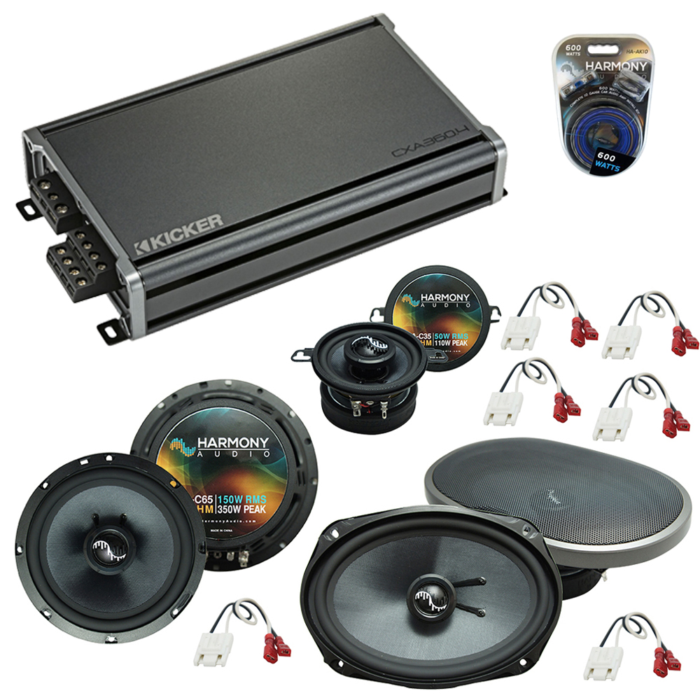 Compatible with Jeep Grand Cherokee 99-04 Speakers Replacement Harmony Kit & CXA360.4 Amp
