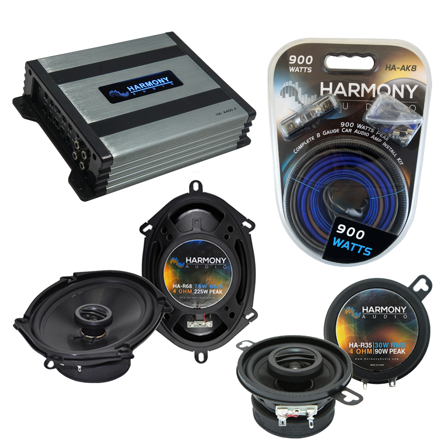 Compatible with Lincoln Mark VIII 96-98 OEM Speaker Replacement Harmony Replacement & Harmony HA-A400.4 Amp