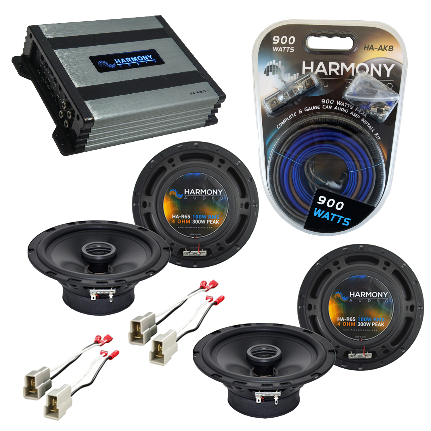 Compatible with Nissan 300ZX 1984-1989 Speaker Replacement Harmony (2) R65 & Harmony HA-A400.4 Amp