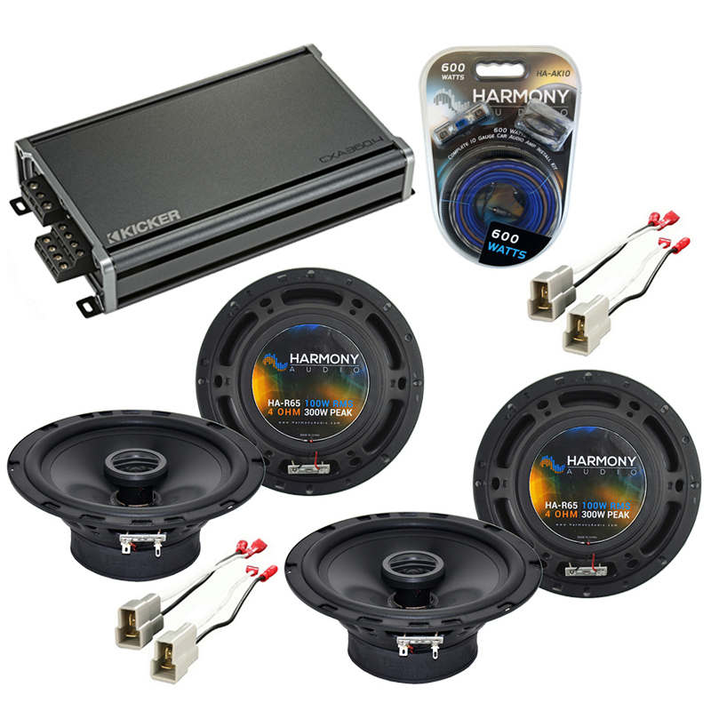 Compatible with Nissan 300ZX 1984-1989 Speaker Replacement Harmony (2) R65 & CXA360.4 Amp