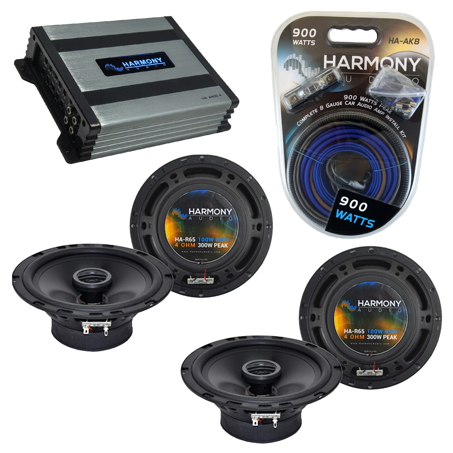 Compatible with Nissan 300ZX 1990-1996 Speaker Replacement Harmony (2) R65 & Harmony HA-A400.4 Amp
