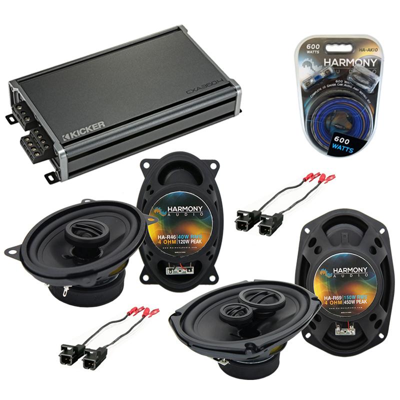 Compatible with Oldsmobile Alero 2001-2004 OEM Speaker Replacement Harmony Speakers & CXA360.4 Amp