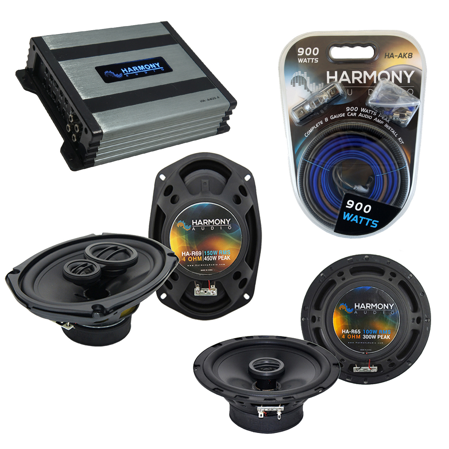 Compatible with Pontiac G5 2005-2006 Factory Speaker Replacement Harmony R65 R69 & Harmony HA-A400.4 Amp