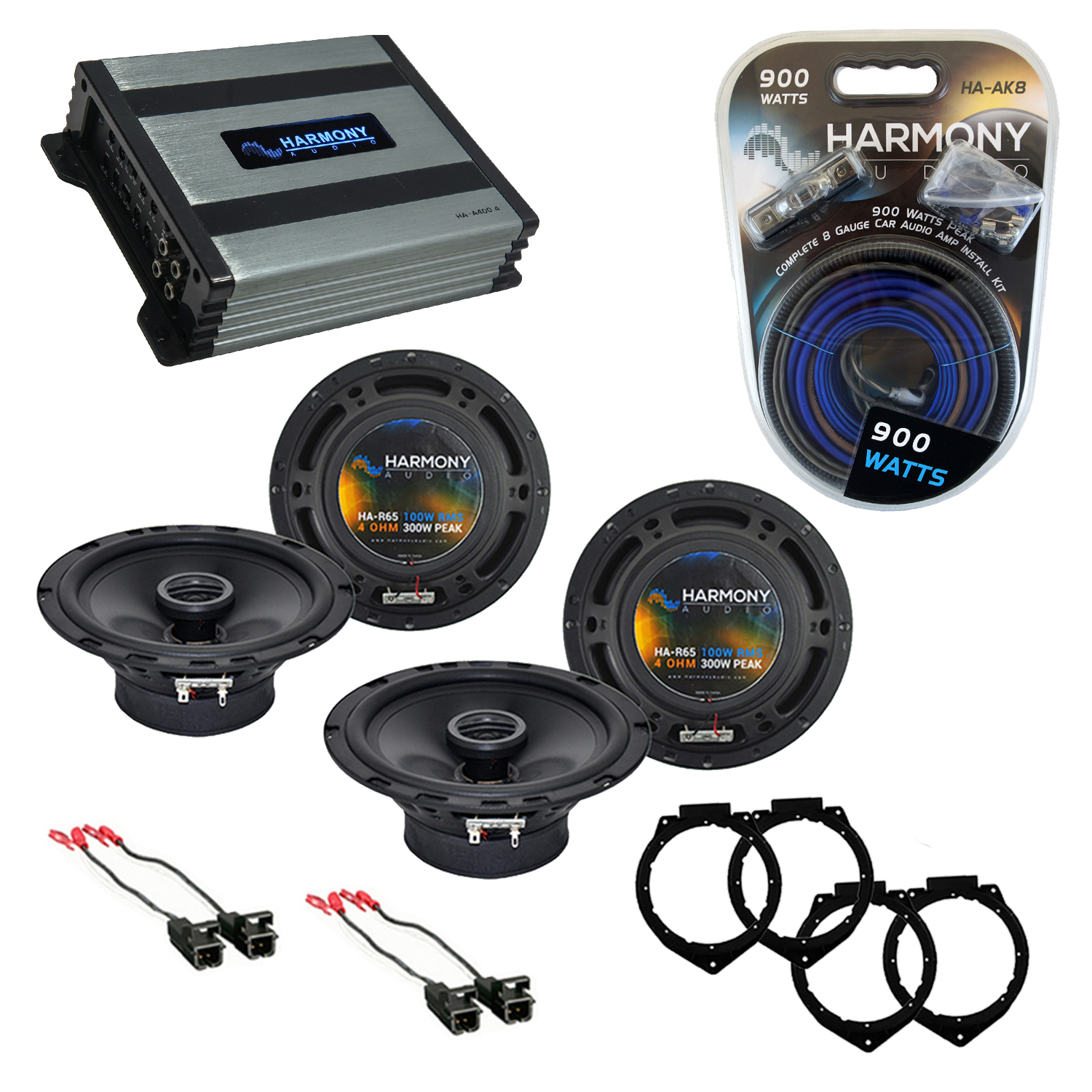 Compatible with Pontiac G5 2007-2010 Factory Speaker Replacement Harmony (2) R65 & Harmony HA-A400.4 Amp