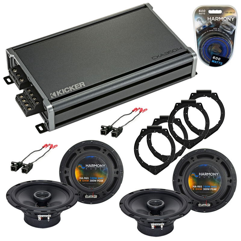 Compatible with Pontiac G5 2007-2010 Factory Speaker Replacement Harmony (2) R65 & CXA360.4 Amp