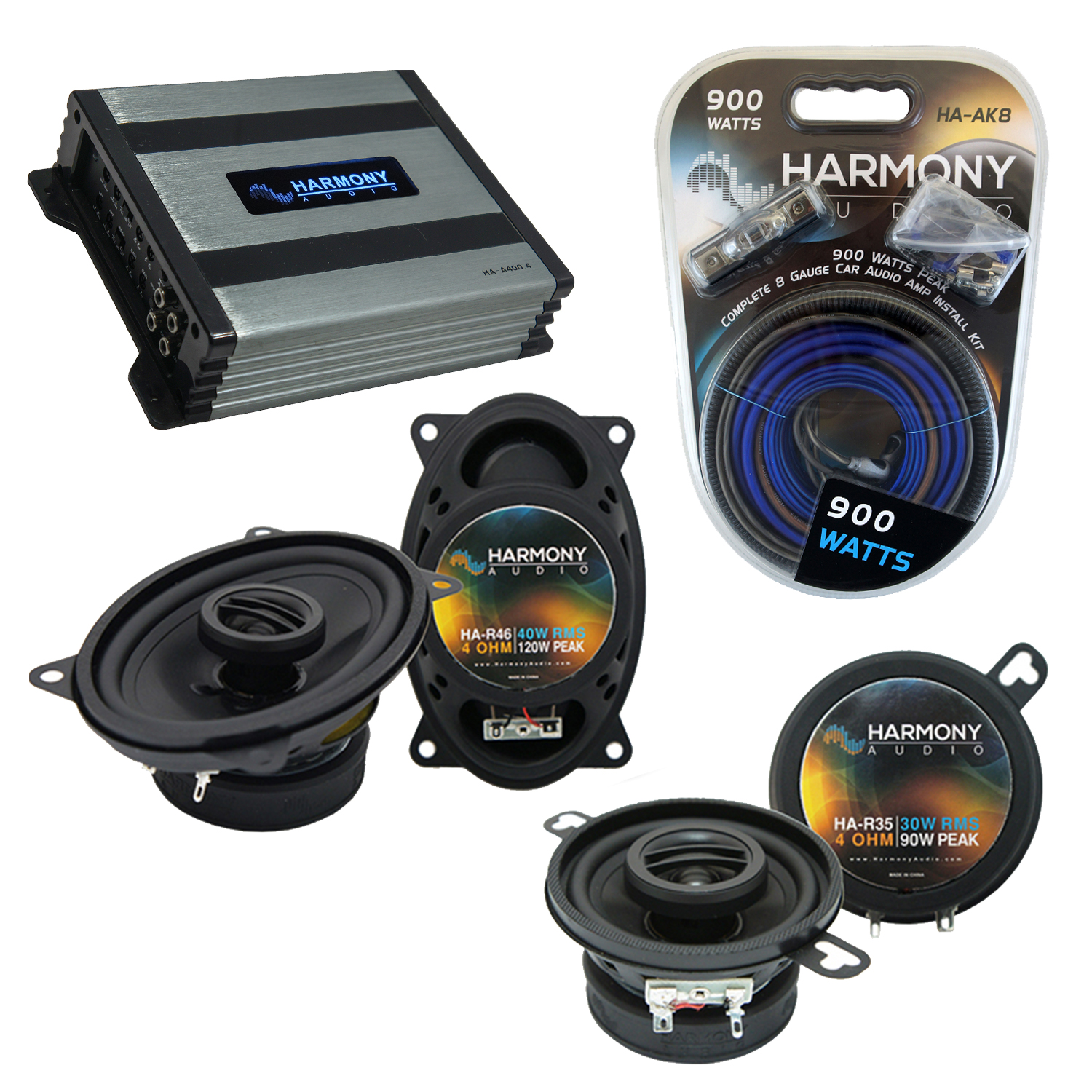 Compatible with Pontiac T-1000 1982-1987 OEM Speaker Replacement Harmony R46 R35 & Harmony HA-A400.4 Amp
