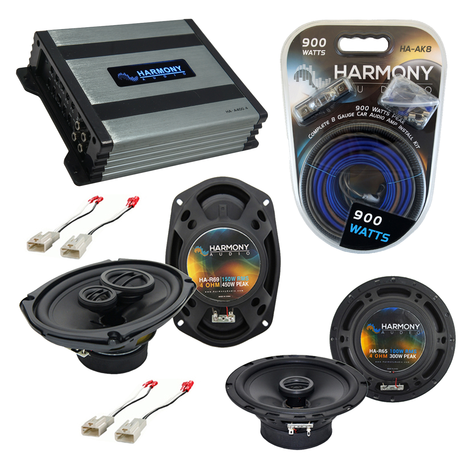 Compatible with Toyota Camry Sedan 1997-2001 OEM Speaker Replacement Harmony Speakers & Harmony HA-A400.4 Amp