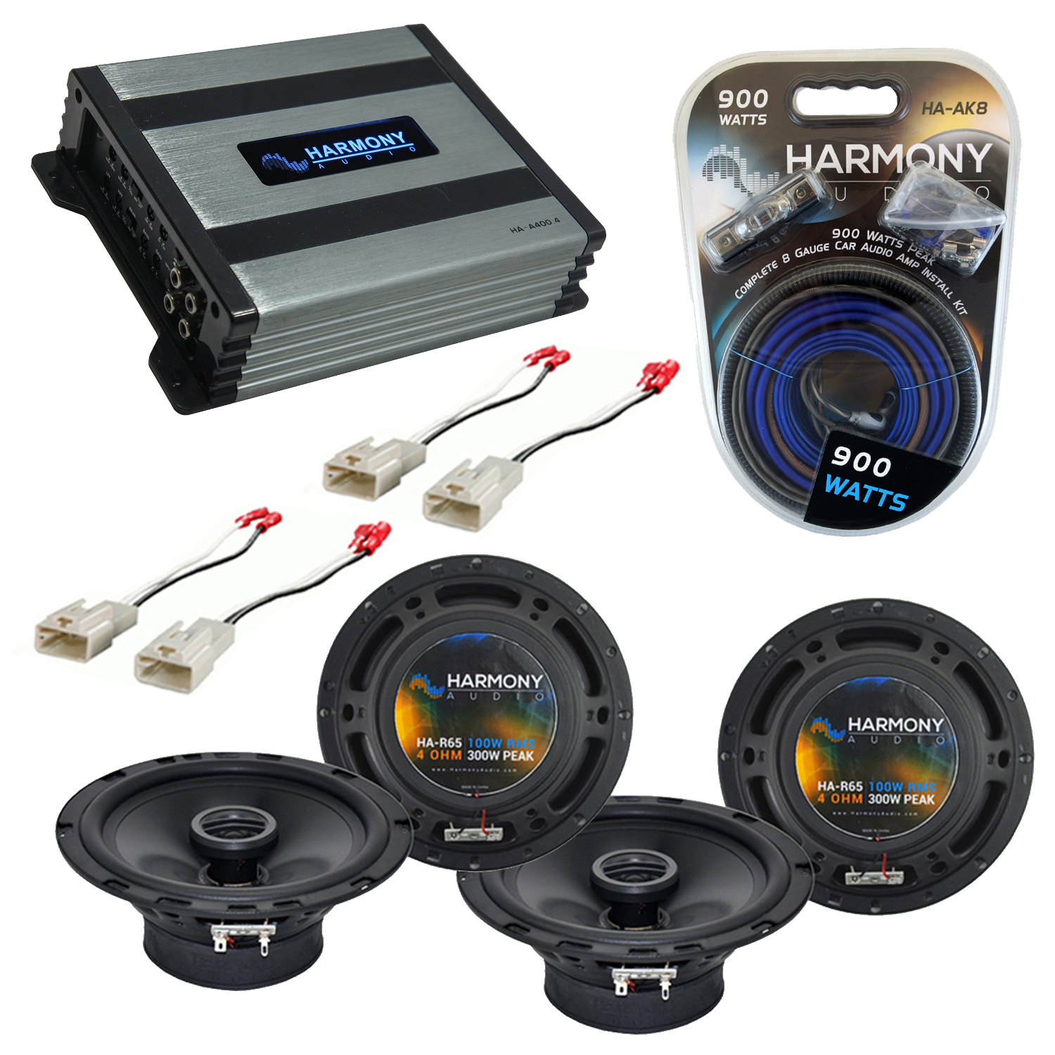 Compatible with Toyota Matrix 2003-2008 Factory Speaker Replacement Harmony (2) R65 & Harmony HA-A400.4 Amp
