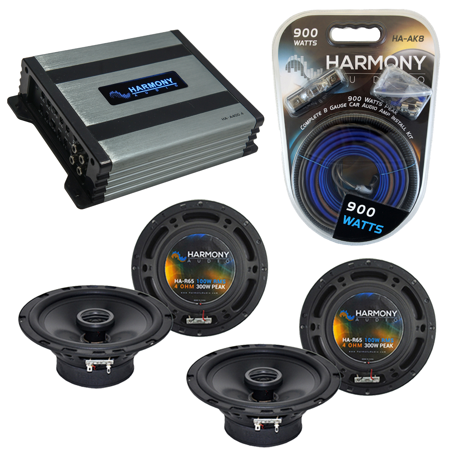 Compatible with Volkswagen Cabrio 1995-2002 OEM Speaker Replacement Harmony (2) R65 & Harmony HA-A400.4 Amp