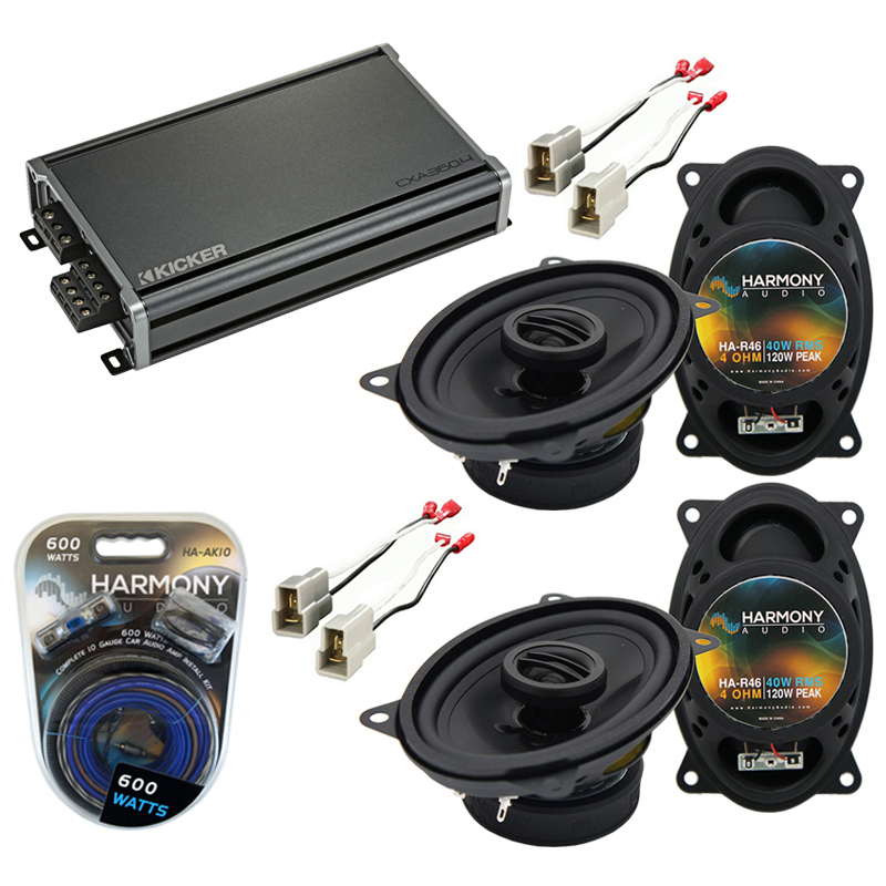 Compatible with Volkswagen Dasher 76-81 Factory Speaker Replacement Harmony (2) R46 & CXA360.4 Amp