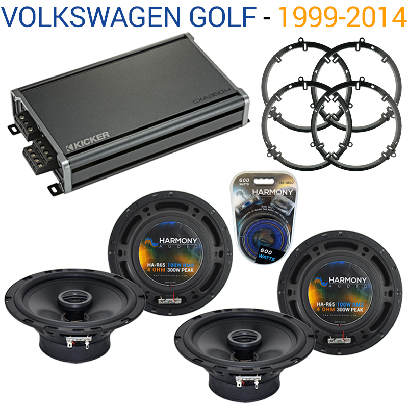 Compatible with Volkswagen Golf 1999-2014 Factory Speaker Replacement Harmony (2) R65 & CXA360.4 Amp