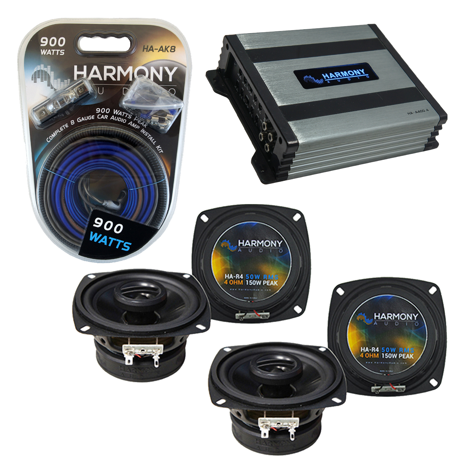 Compatible with Volvo 240 Series 1986-1989 OEM Speaker Replacement Harmony (2) R4 & Harmony HA-A400.4 Amp