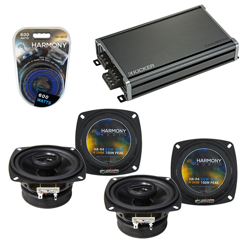 Compatible with Volvo 240 Series 1986-1989 OEM Speaker Replacement Harmony (2) R4 & CXA360.4 Amp