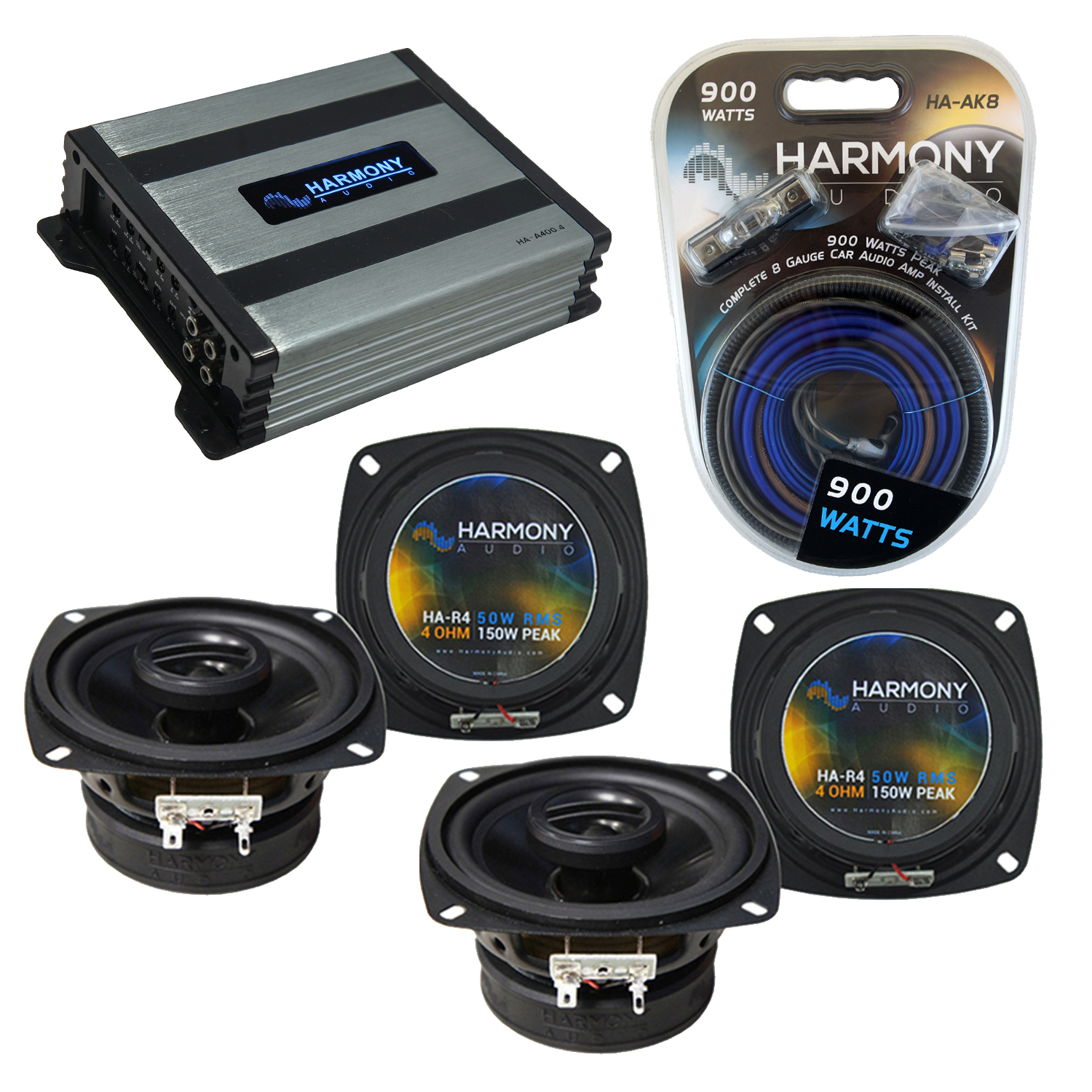 Compatible with Suzuki Sidekick 1996-1998 Factory Speaker Replacement Harmony (2) R4 & Harmony HA-A400.4 Amp