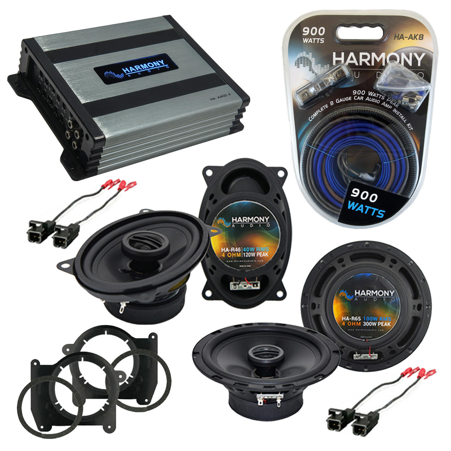 Compatible with Chevy Blazer 1998-2005 OEM Speaker Replacement Harmony (2) R46 R65 & Harmony HA-A400.4 Amp