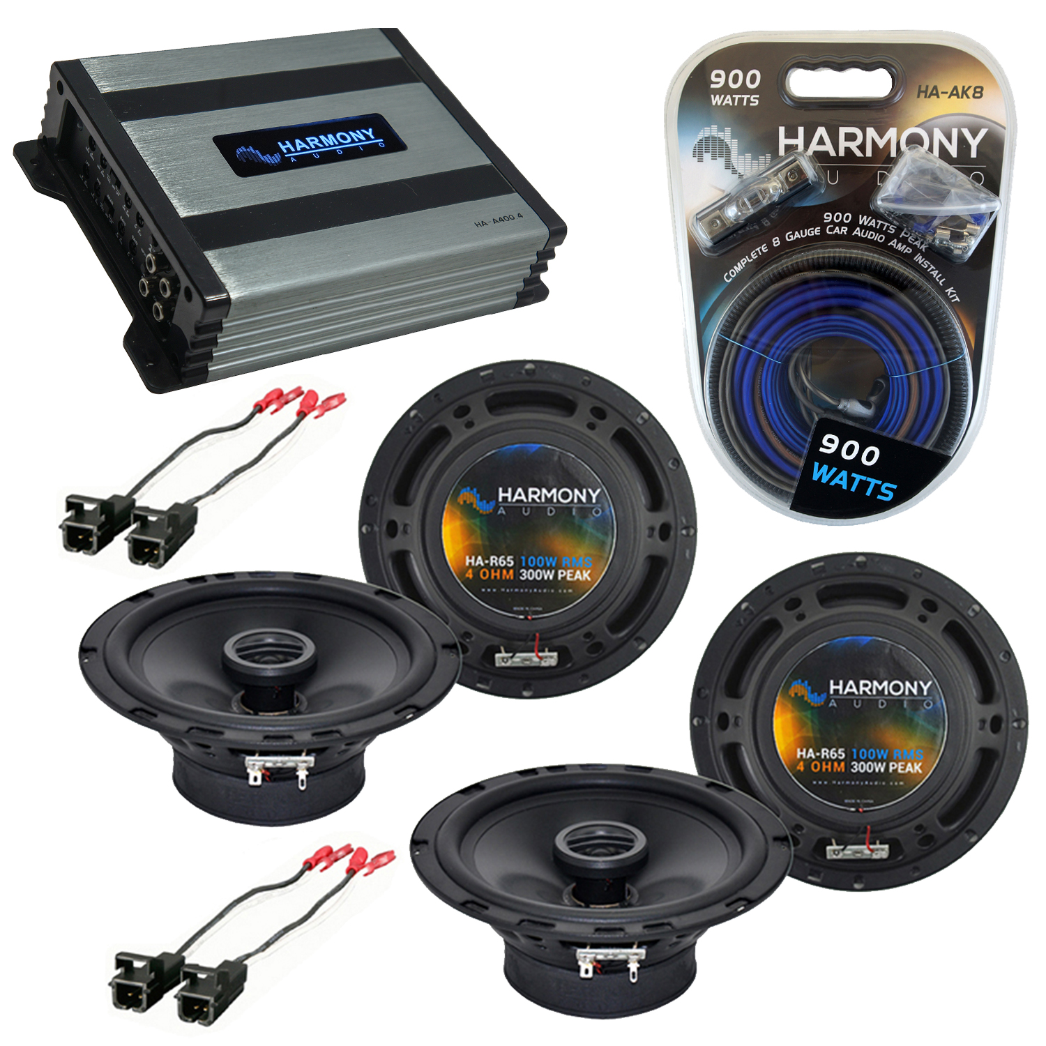 Compatible with Chevy Camaro 1993-2002 Factory Speaker Replacement Harmony (2) R65 & Harmony HA-A400.4 Amp