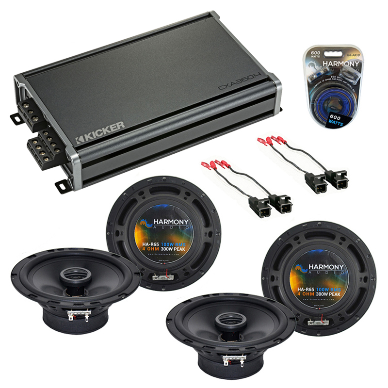 Compatible with Chevy Camaro 1993-2002 Factory Speaker Replacement Harmony (2) R65 & CXA360.4 Amp