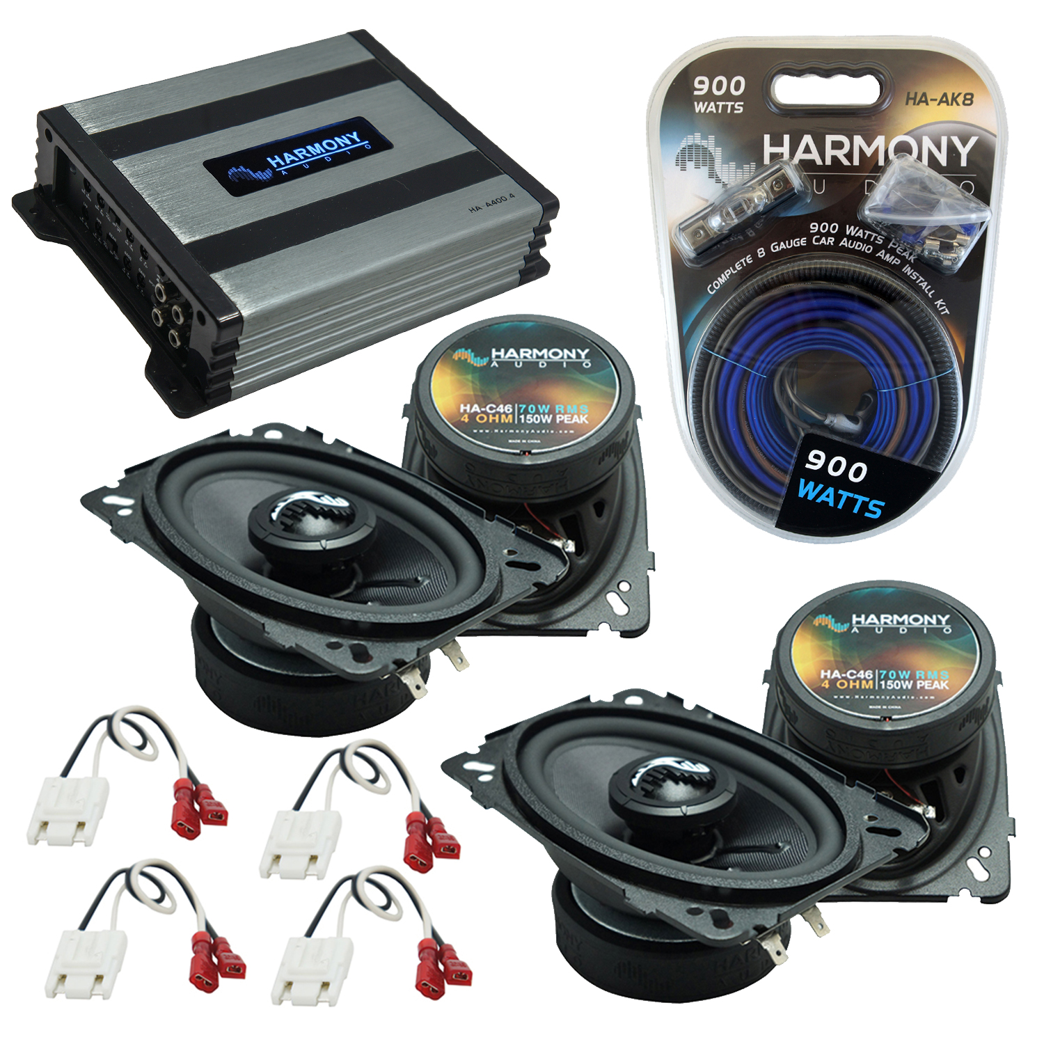 Compatible with Chevy CK Truck (Full Size) 88-94 Speakers Replacement Harmony (2)C46 & Harmony HA-A400.4