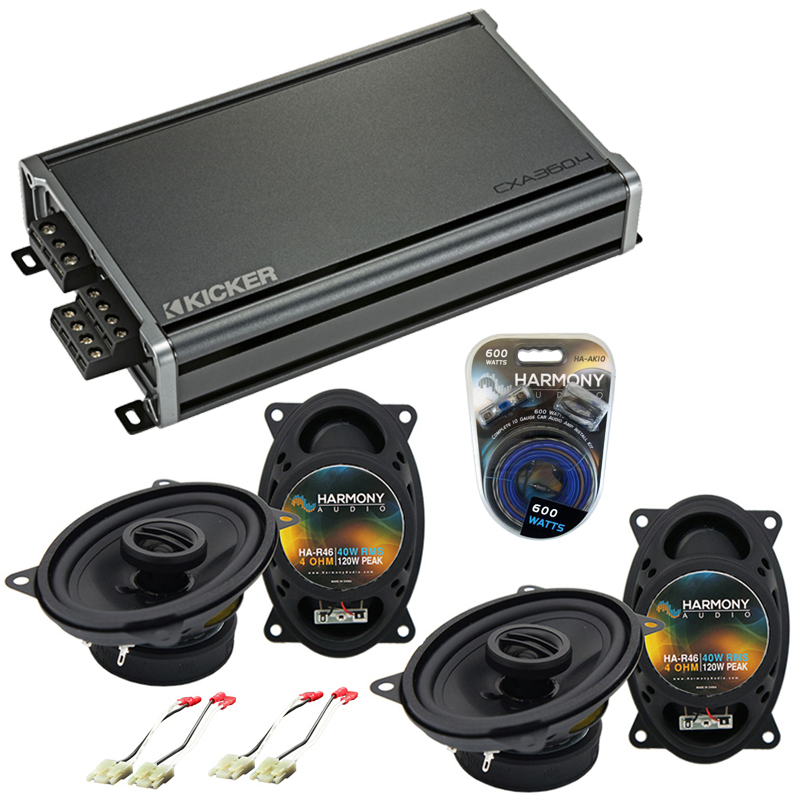 Compatible with Chevy CK Truck (Full Size) 88-94 Speaker Replacement Harmony (2)R46 & CXA360.4 Amp