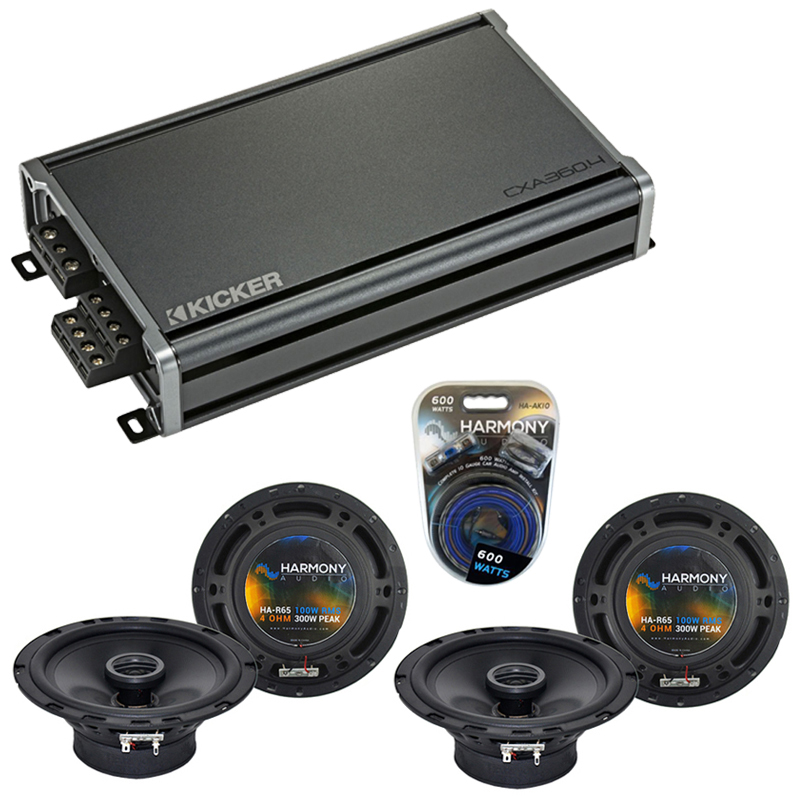 Compatible with Daewoo Lanos 1999-2002 Factory Speaker Replacement Harmony (2) R65 & CXA360.4 Amp