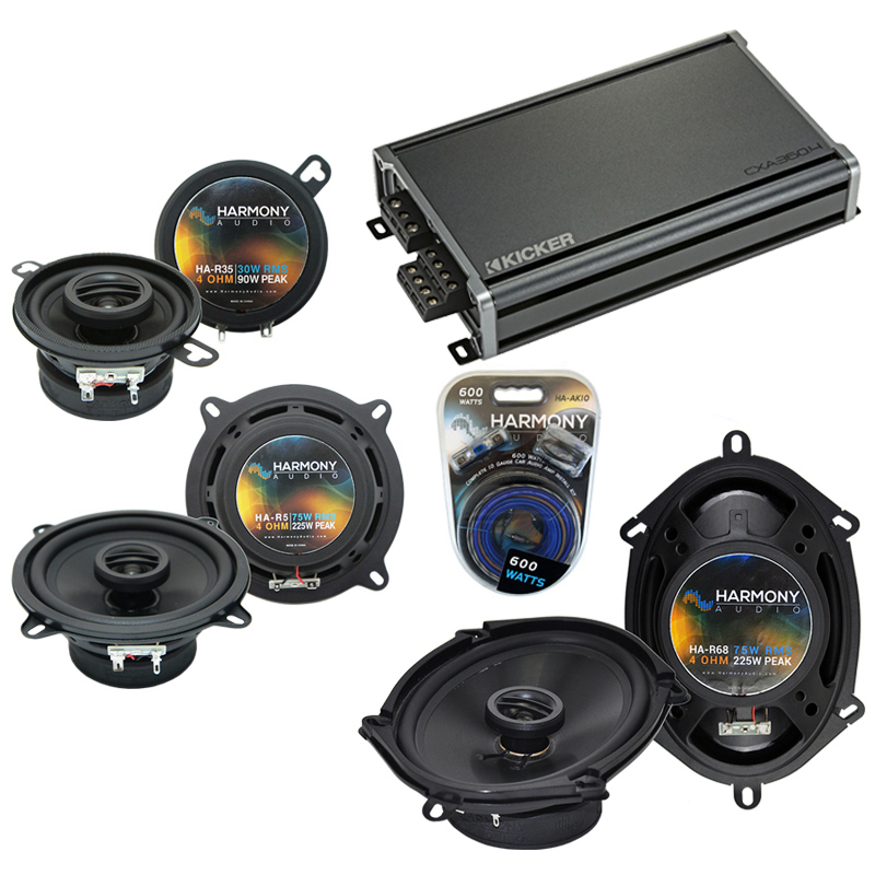 Compatible with Dodge Aries 1981-1983 Factory Speaker Replacement Harmony Speakers & CXA360.4 Amp