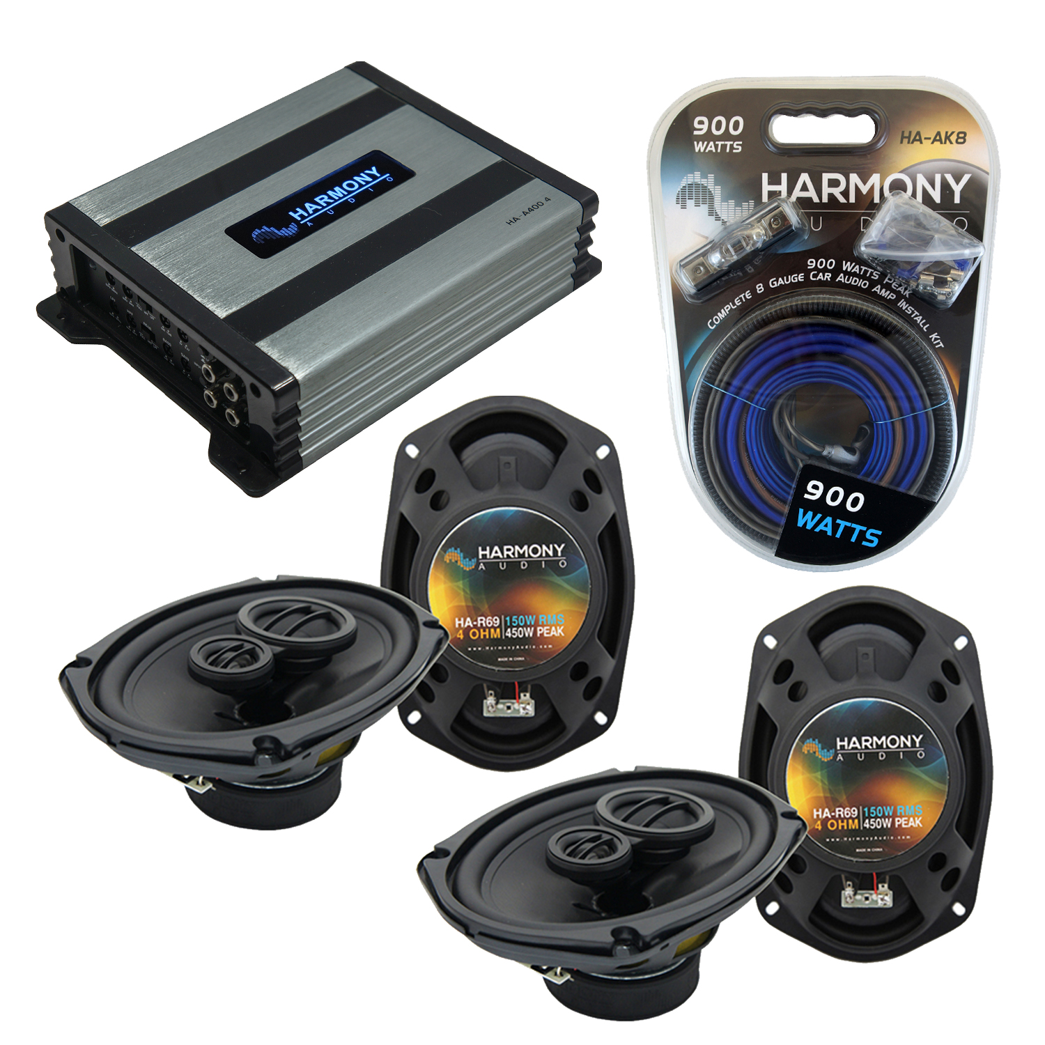 Compatible with Dodge Caliber 2007-2012 Factory Speaker Replacement Harmony (2) R69 & Harmony HA-A400.4 Amp