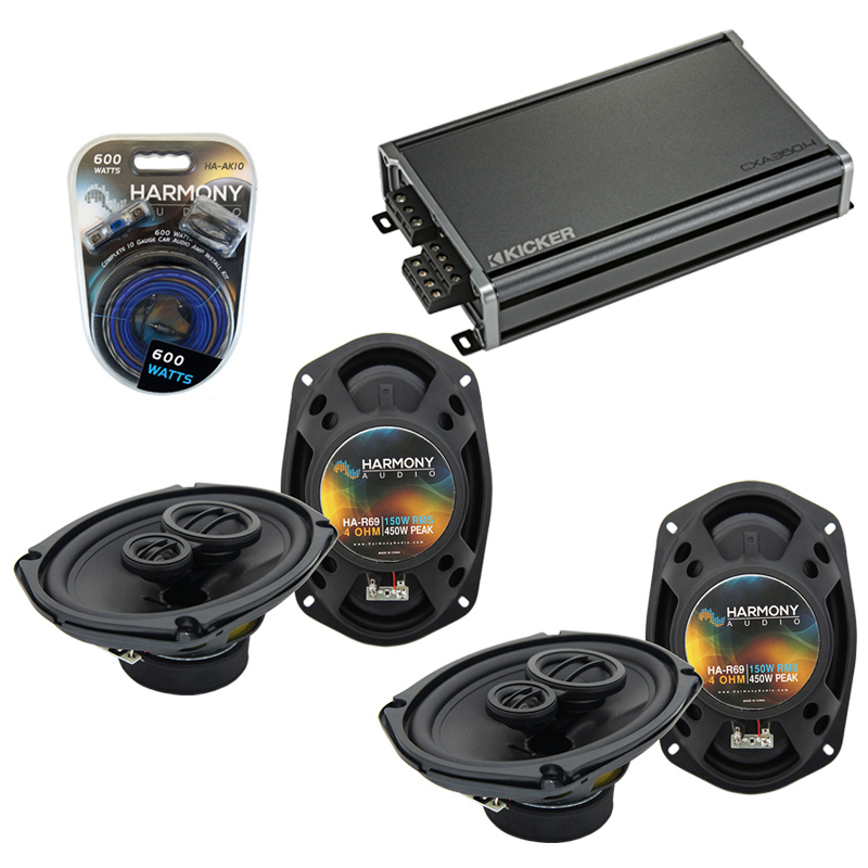 Compatible with Dodge Caliber 2007-2012 Factory Speaker Replacement Harmony (2) R69 & CXA360.4 Amp