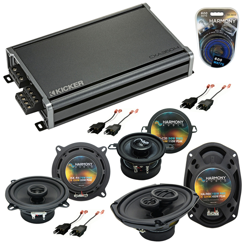 Compatible with Dodge Dynasty 1988-1993 Factory Speaker Replacement Harmony Speakers & CXA360.4 Amp