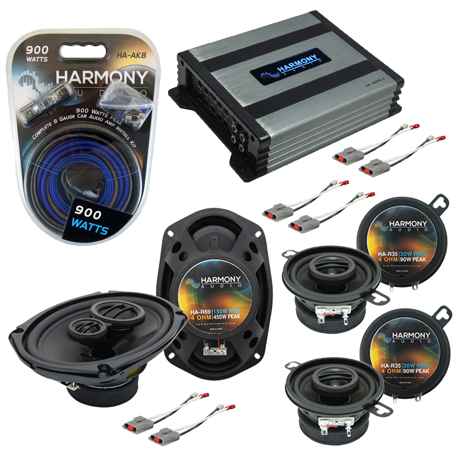 Compatible with Ford Aerostar 1986-1997 OEM Speaker Replacement Harmony (2)R35 R69 & Harmony HA-A400.4 Amp
