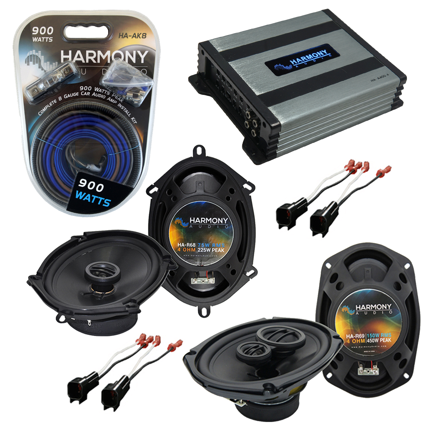 Compatible with Ford Crown Victoria 98-11 OEM Speaker Replacement Harmony R68 R69 & Harmony HA-A400.4 Amp