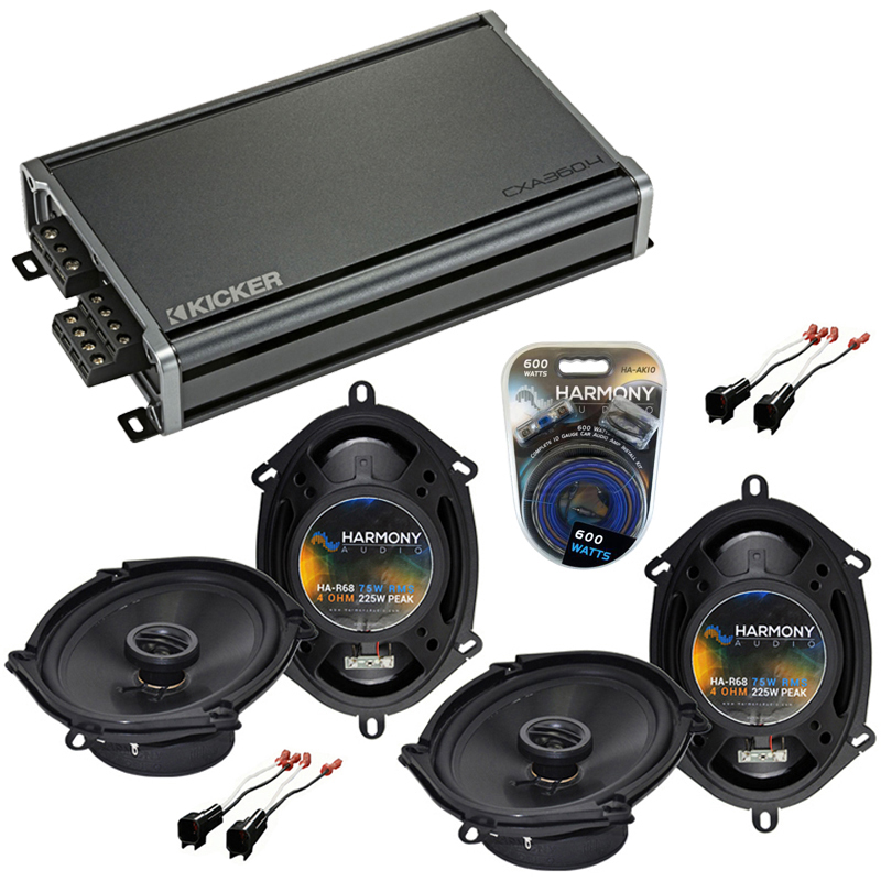 Compatible with Ford Edge 2007-2010 Factory Speaker Replacement Harmony (2) R68 & CXA360.4 Amp