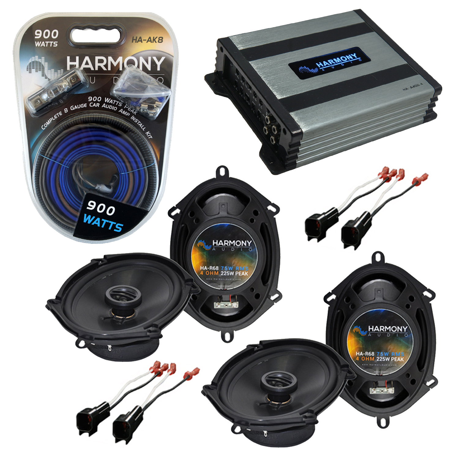 Compatible with Ford F-250/350/450/550/650/750 99-04 Speaker Replacement Harmony 2 R68 & Harmony HA-A400.4 Amp
