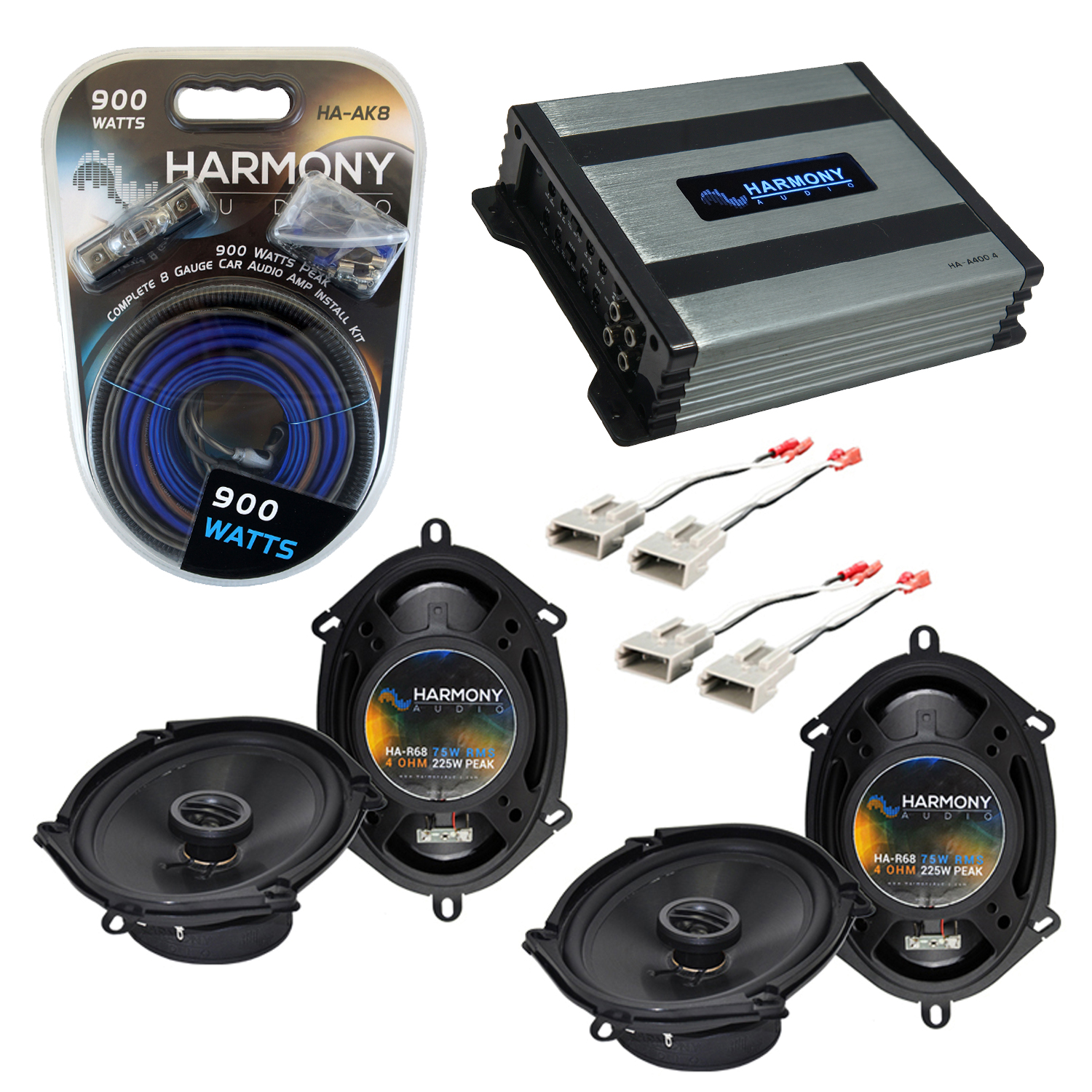 Compatible with Ford Mustang 1999-2004 Factory Speaker Replacement Harmony (2) R68 & Harmony HA-A400.4 Amp