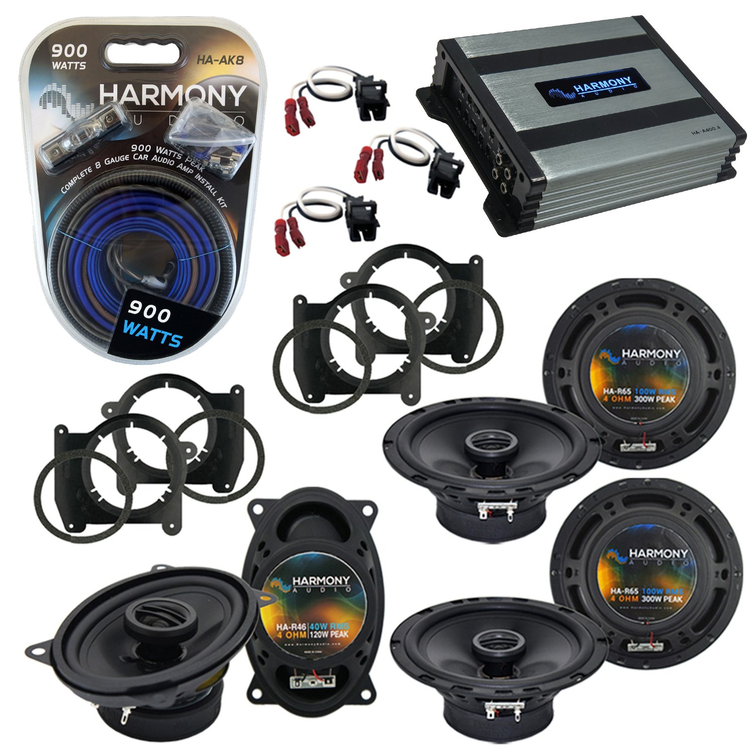 Compatible with GMC Jimmy 1995-2001 OEM Speaker Replacement Harmony (2) R65 R46 & Harmony HA-A400.4 Amp