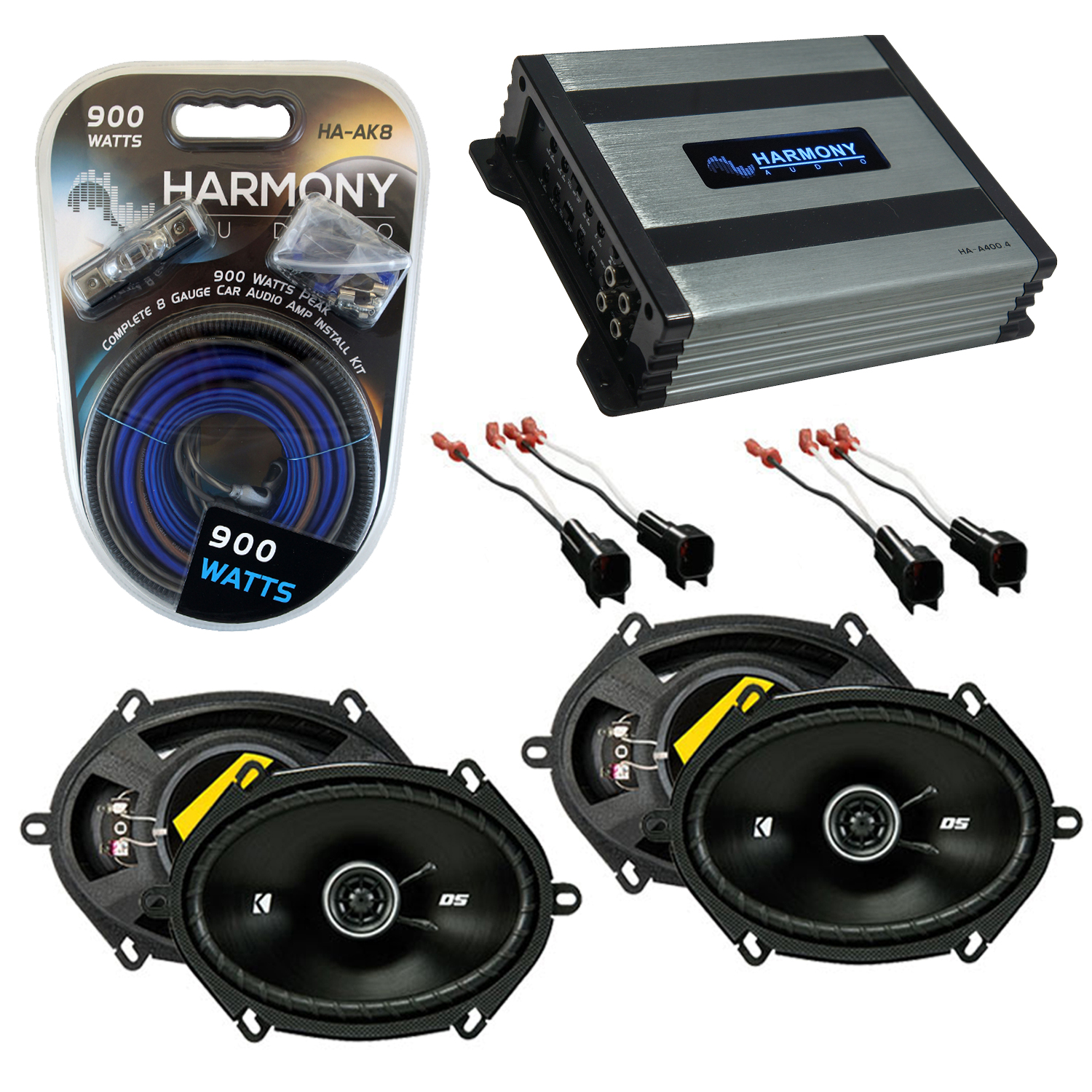 Compatible with Mercury Sable 2008-2009 Speaker Replacement Kicker (2) DSC68 & Harmony HA-A400.4 Amp