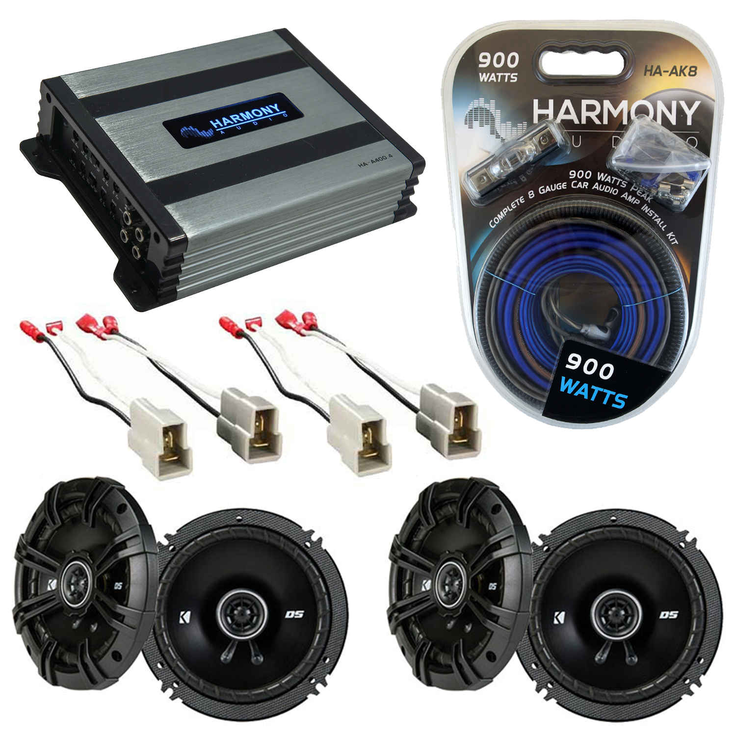 Compatible with Nissan 300ZX 1984-1989 Speaker Replacement Kicker (2) DSC65 & Harmony HA-A400.4 Amp