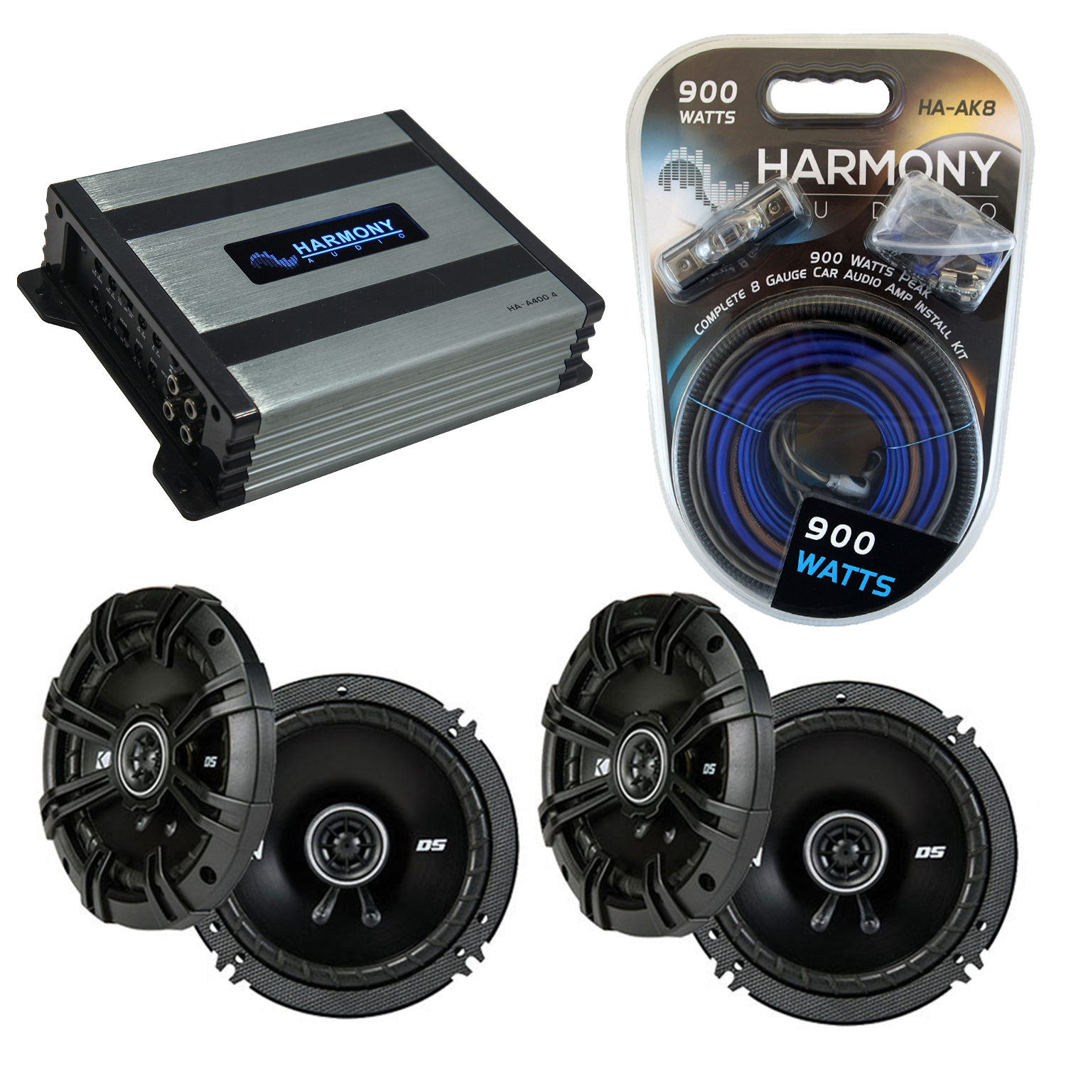 Compatible with Nissan 300ZX 1990-1996 Speaker Replacement Kicker (2) DSC65 & Harmony HA-A400.4 Amp