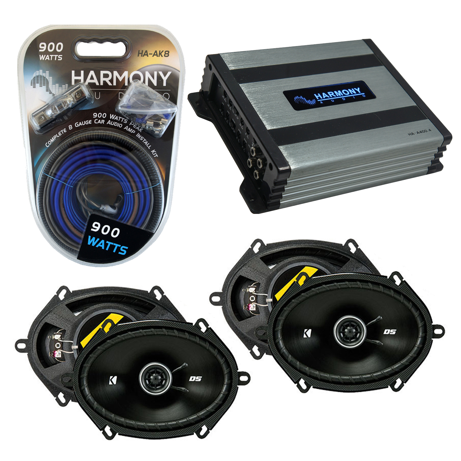 Compatible with Nissan Quest 1993-2006 Factory Speaker Replacement Kicker (2) DSC68 & Harmony HA-A400.4